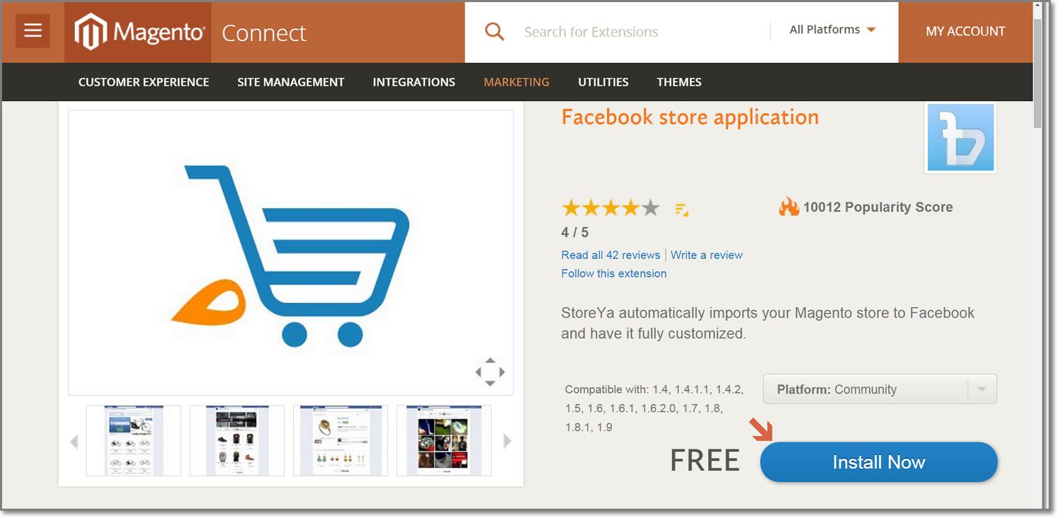 StoreYa's Free Magento Facebook store Extension